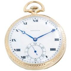 Hamilton 14 Karat White Gold Pocket Watch