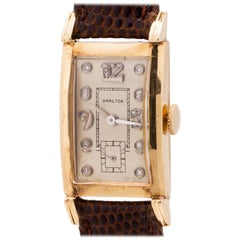 Hamilton 14 Karat Yellow Gold Diamond Dial, circa 1950s