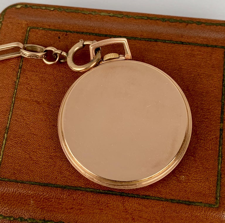 Art Deco  Slim Pocket Watch and Chain- 14 Karat Rose Gold by The Hamilton Watch Company For Sale