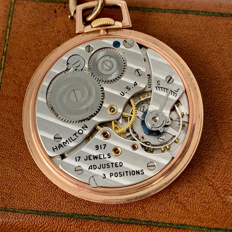 Slim Pocket Watch and Chain- 14 Karat Rose Gold by The Hamilton Watch Company In Good Condition For Sale In West Palm Beach, FL
