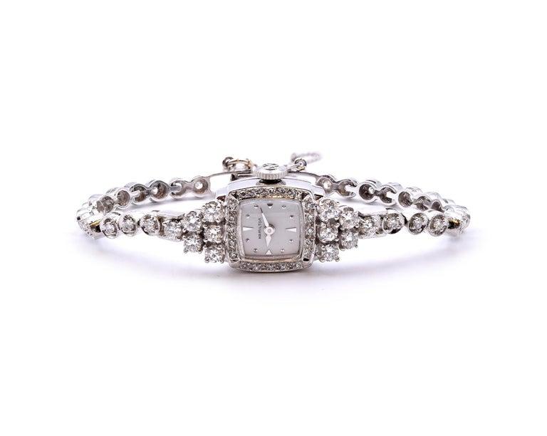 Round Cut Hamilton 14 Karat White Gold Diamond Ladies Watch For Sale
