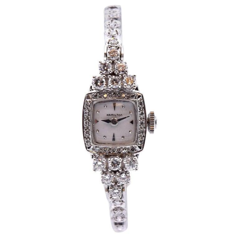 Hamilton 14 Karat White Gold Diamond Ladies Watch For Sale