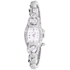 Hamilton 22 Jewel 14 Karat White Gold 2 Carat 140 Diamond Ladies Cocktail Watch