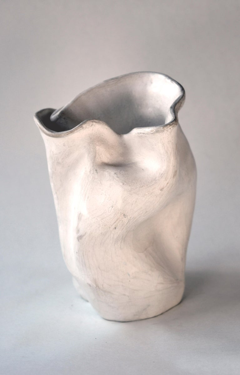 Early 1940s Abstract Pottery Vase #2 after George Ohr - Gray Abstract Sculpture by Hamilton Achille Wolf