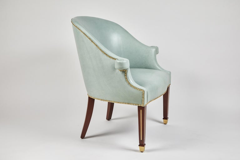 The Hamilton chair, an over-scaled, rather traditional chair all dressed-up and ready to go with legs inlaid with brass, and finished with a sabot. This item is fully customizable. As chairs are made to order, when produced to specifications they