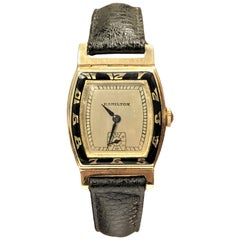 Hamilton Coronado 1930s Gold and Enamel Wristwatch