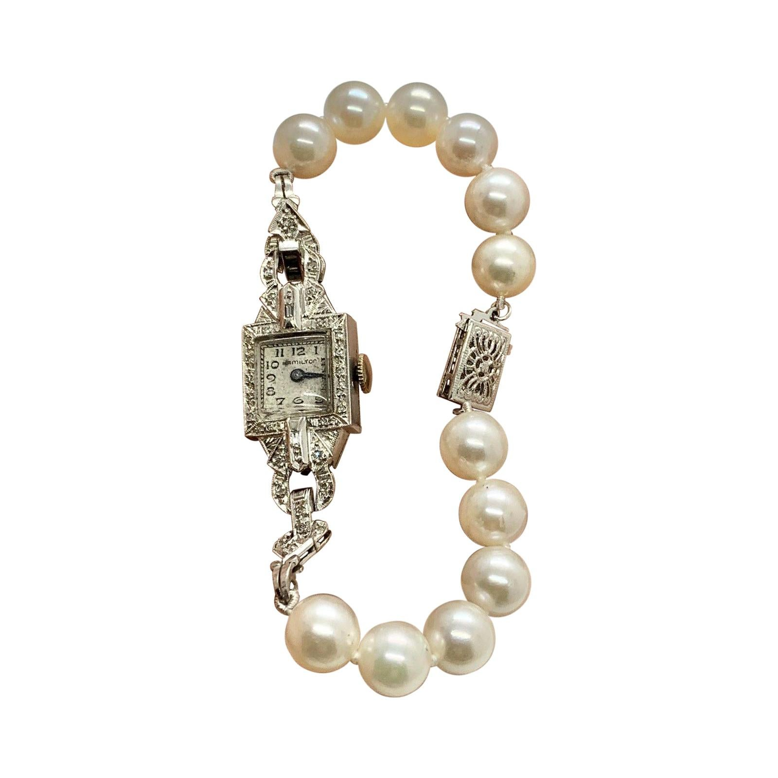 Hamilton Diamond Akoya Pearl Platinum Watch 14k Gold Certified