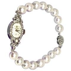 Hamilton Diamond Akoya Pearl Watch 14k White Gold 0.55 TCW Certified