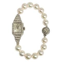 Hamilton Diamond Akoya Pearl Watch Bracelet 14k Gold Certified