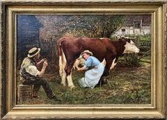 Oil Painting, Hamilton Jay, Milking Cows.