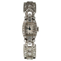 Hamilton Ladies Platinum Diamond Dress Watch Delicate Filigree Movement #911