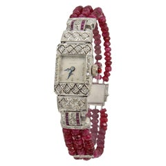 Hamilton Ladies Platinum Diamond Ruby Bead Bracelet Wristwatch