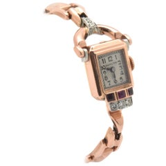 Hamilton Ladies Rose Gold Diamond Ruby Vintage manual wind Wristwatch