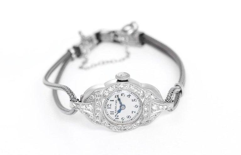 Hamilton Ladies White Gold Diamond Wristwatch In Good Condition For Sale In Dallas, TX