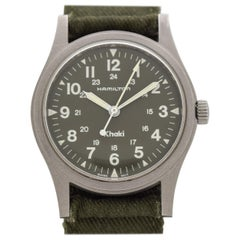 Hamilton Military Stainless Steel Field Watch Signed Khaki, 1980s