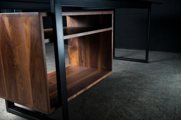 Canadian Hamilton Modern Desk, by Ambrozia, Tinted Glass, Black Steel, Solid Black Walnut For Sale