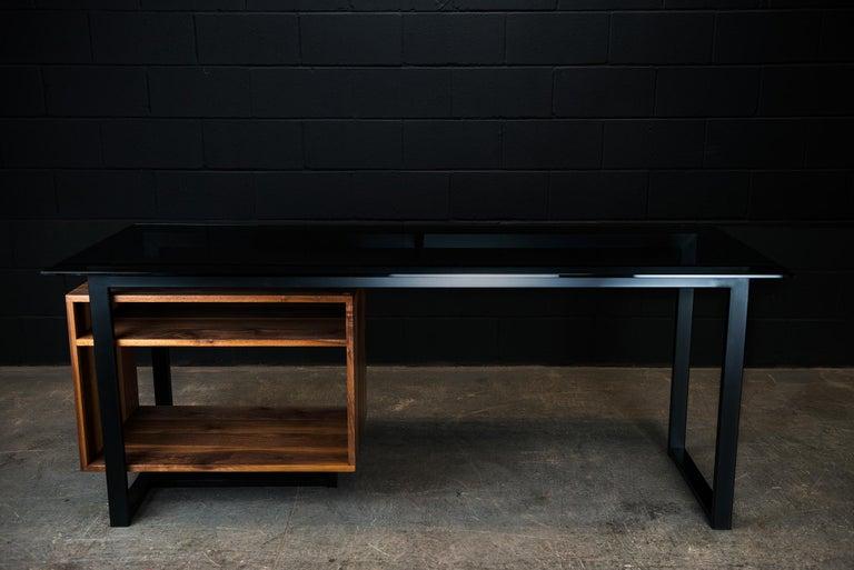 Blackened Hamilton Modern Desk, by Ambrozia, Tinted Glass, Black Steel, Solid Black Walnut For Sale