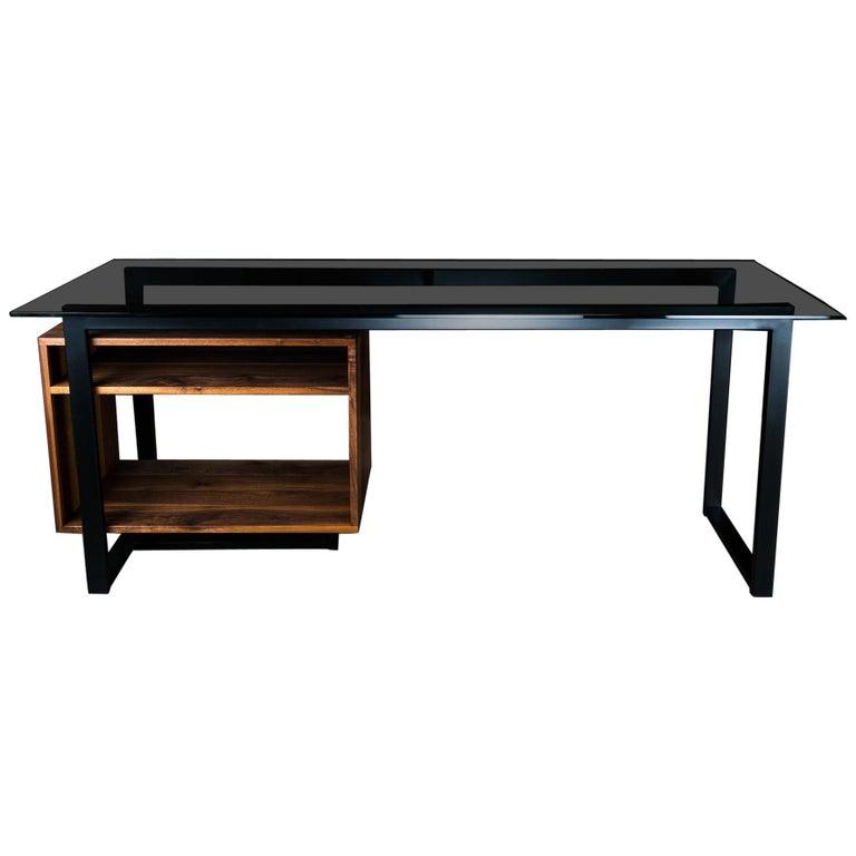 Hamilton Modern Desk, by Ambrozia, Tinted Glass, Black Steel, Solid Black Walnut For Sale