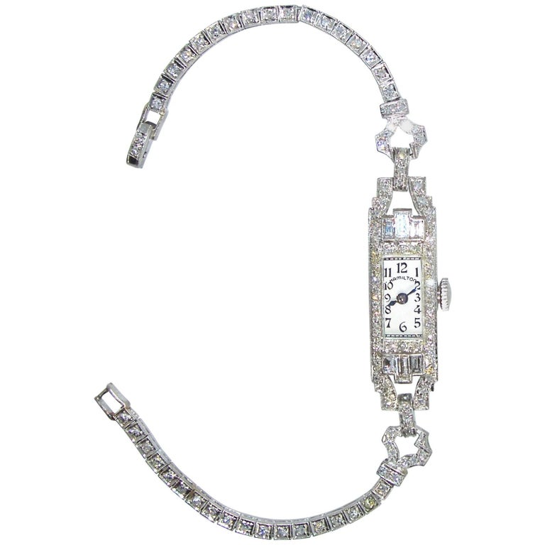 Hamilton Platinum Diamond Art Deco Manual Wristwatch at
