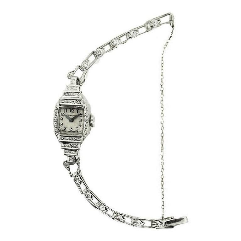 Hamilton Platinum Ladies Art Deco Diamond Dress Watch, circa 1940s In Excellent Condition For Sale In Long Beach, CA