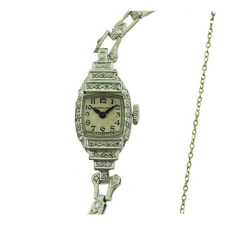 Women's Hamilton Platinum Ladies Art Deco Diamond Dress Watch, circa 1940s For Sale
