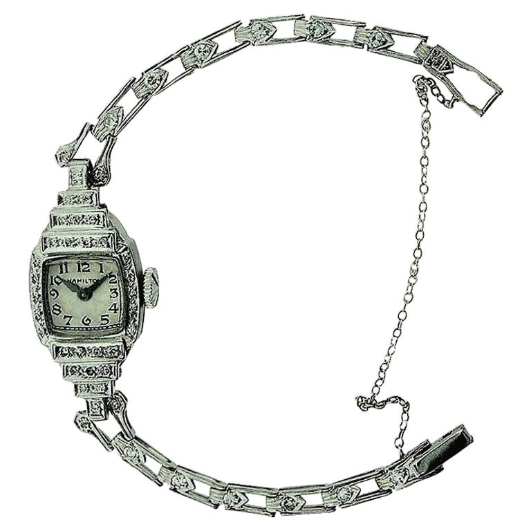 Hamilton Platinum Ladies Art Deco Diamond Dress Watch, circa 1940s For Sale