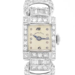 Hamilton Ladies Platinum Diamond Vintage Manual Wind Wristwatch, circa 1940