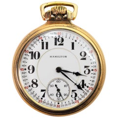 Hamilton Railroad Style Brass Pocket Watch, circa 1925