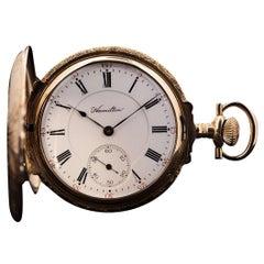 Hamilton Rare Full Hunter Pocket Watch 14 Karat Tri-Gold White Enamel Dial