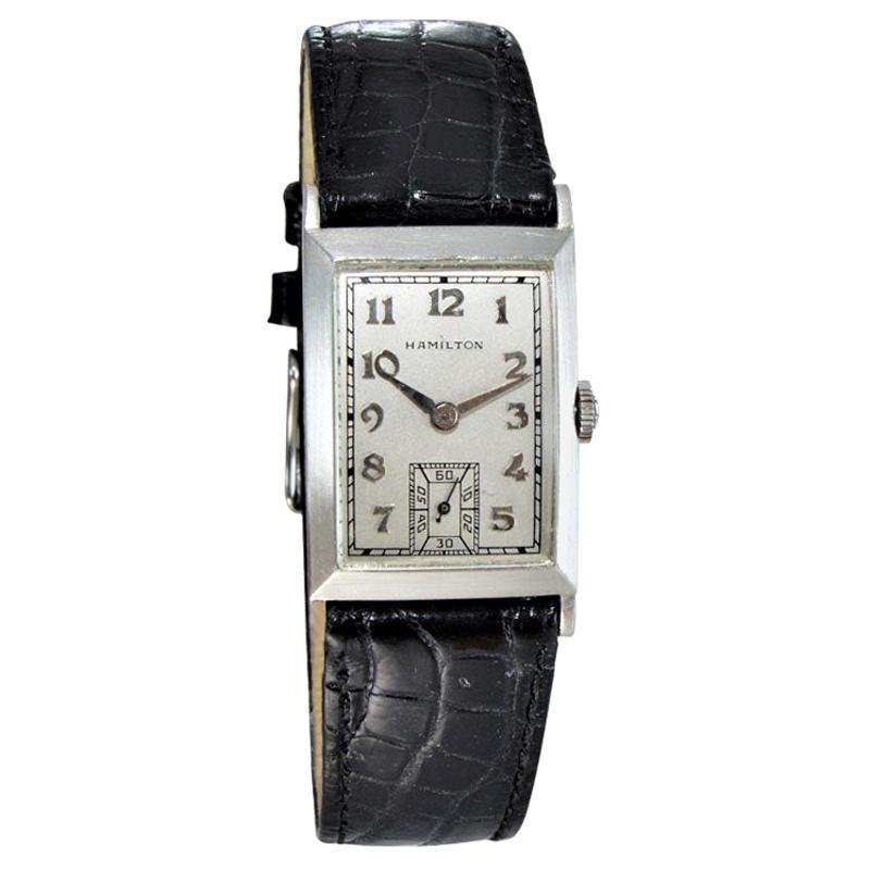 Hamilton Rare Platinum Art Deco Tank Style Watch, circa 1940s