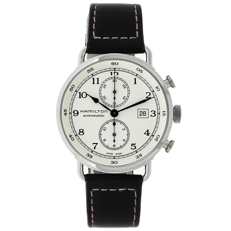 Hamilton Stainless Steel Chronograph Self-Winding Wristwatch For Sale