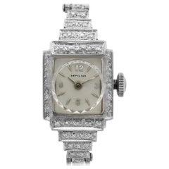 Hamilton Vintage 14 Karat White Gold Silver Dial Quartz Ladies Bracelet Watch