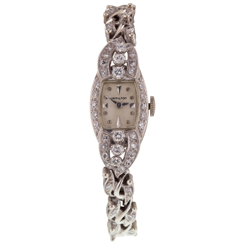 Hamilton Vintage 14 Karat White Gold Women's Diamond Dress Watch