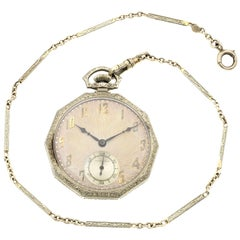 Hamilton Vintage Open Face 14 Karat White Gold Manual Wind Men's Pocket Watch