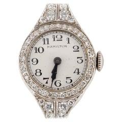 Hamilton Women's Dress Hand-Winding Platinum Watch 3 Cts Diamond Milgrain