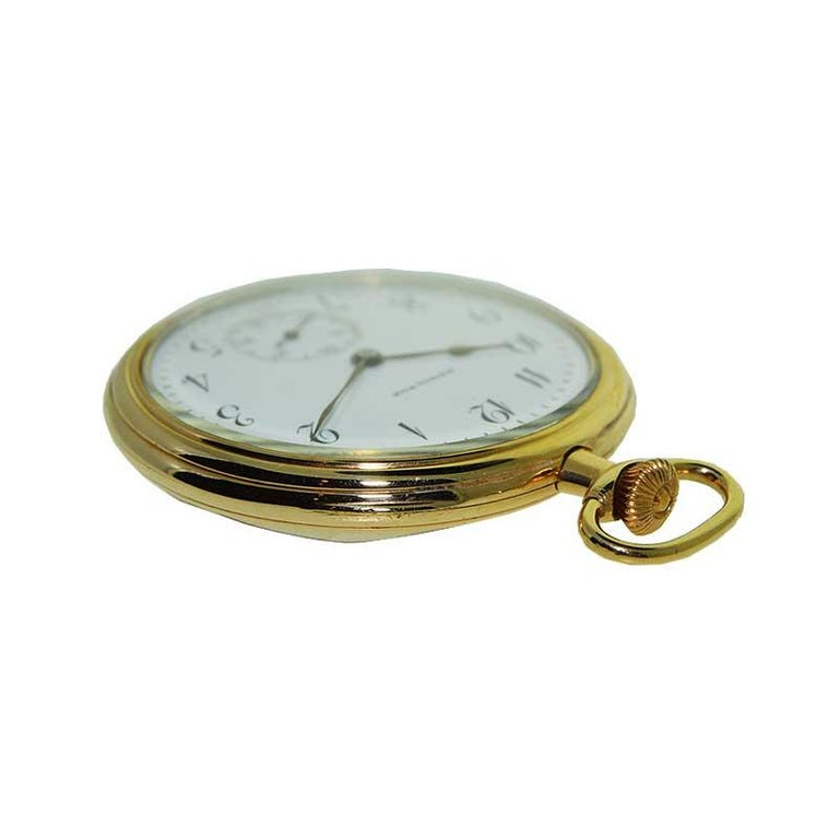 Hamilton Yellow Gold Filled Art Deco Pocket Watch with Enamel Dial, 1921 In Excellent Condition For Sale In Venice, CA
