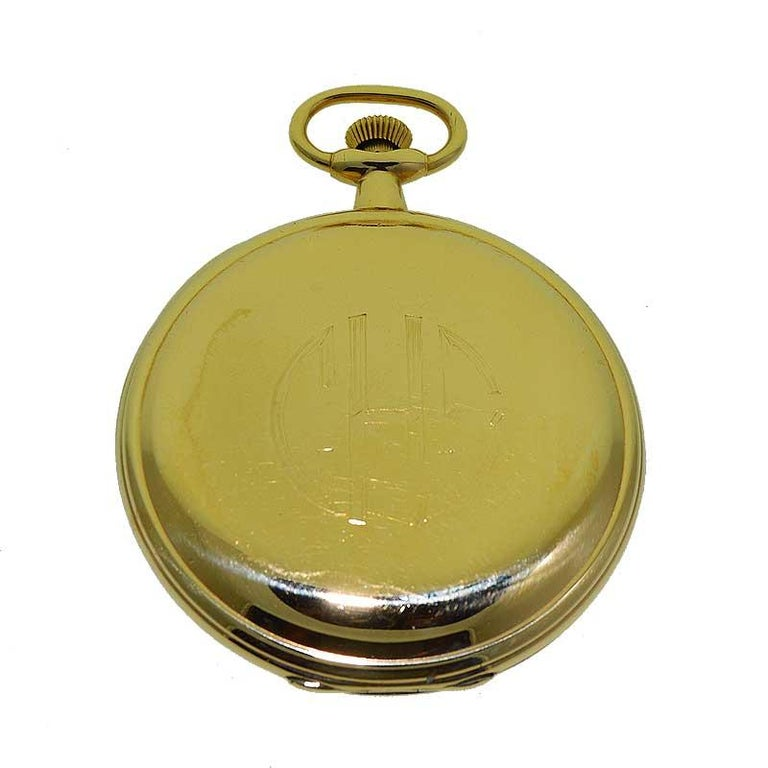 Women's or Men's Hamilton Yellow Gold Filled Art Deco Pocket Watch with Enamel Dial, 1921 For Sale