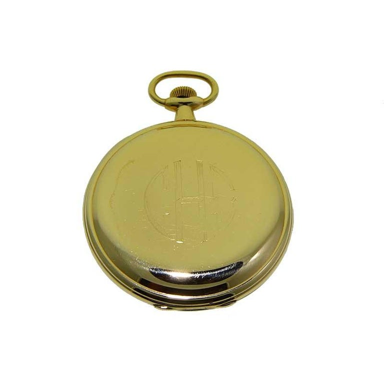 Hamilton Yellow Gold Filled Art Deco Pocket Watch with Enamel Dial, 1921 For Sale 1