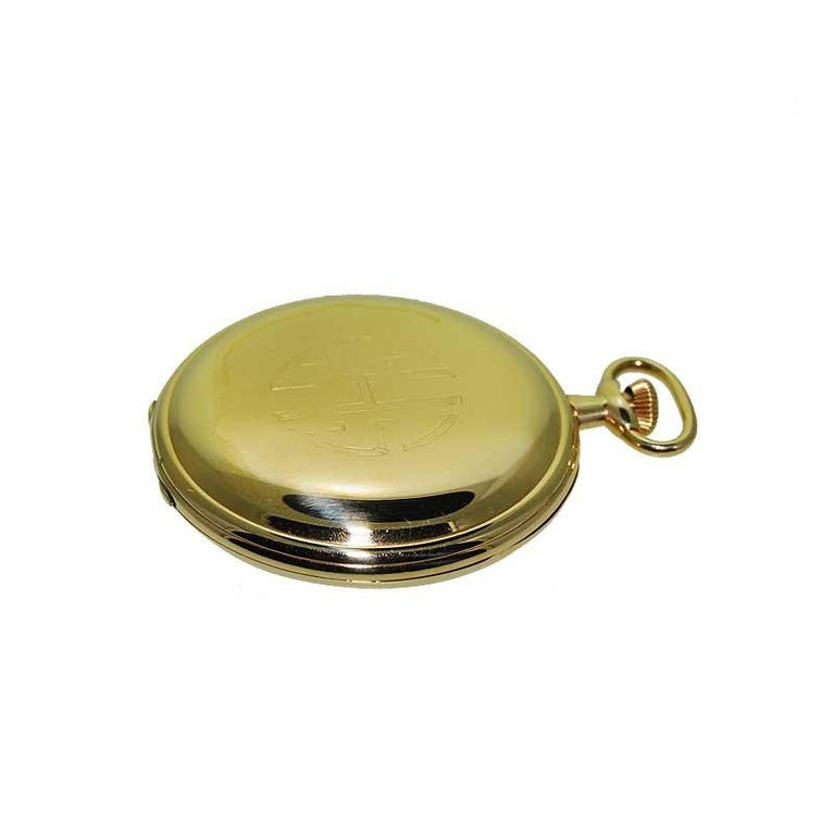 Hamilton Yellow Gold Filled Art Deco Pocket Watch with Enamel Dial, 1921 For Sale 2