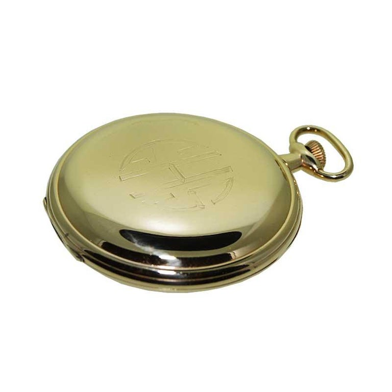 Hamilton Yellow Gold Filled Art Deco Pocket Watch with Enamel Dial, 1921 For Sale 3