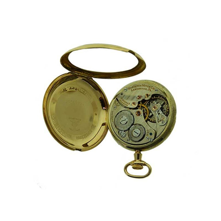 Hamilton Yellow Gold Filled Art Deco Pocket Watch with Enamel Dial, 1921 For Sale 5