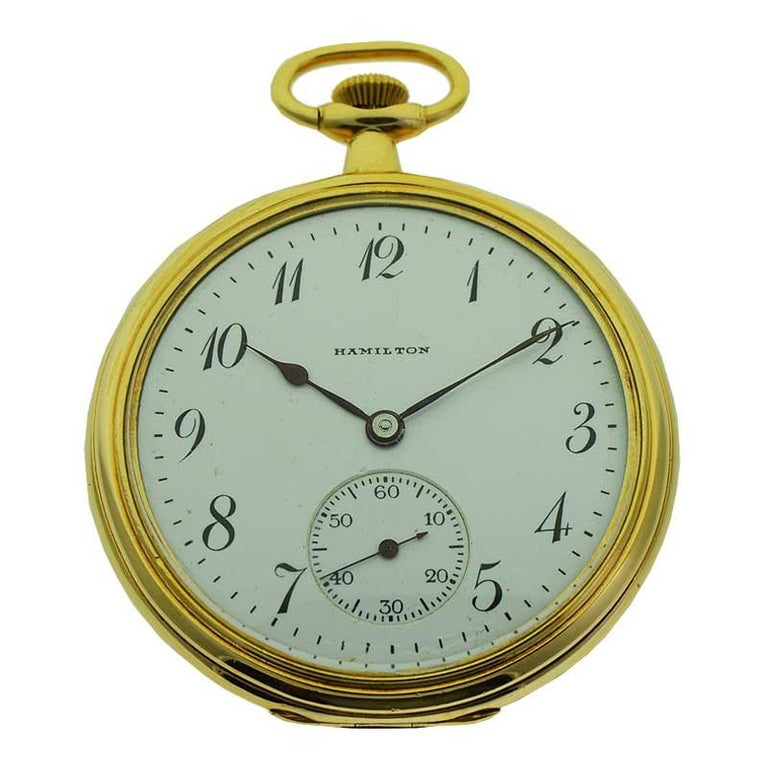 Hamilton Yellow Gold Filled Art Deco Pocket Watch with Enamel Dial, 1921 For Sale