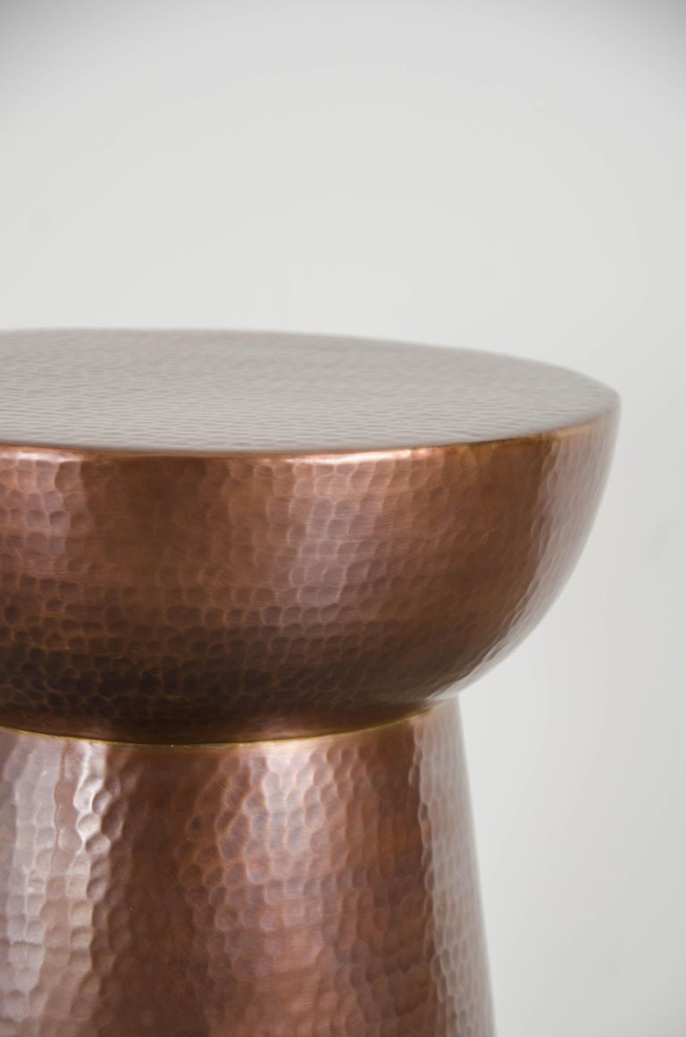 Repoussé Hammer Marks Chalice Side Table, Antique Copper by Robert Kuo, Hand Repousse For Sale