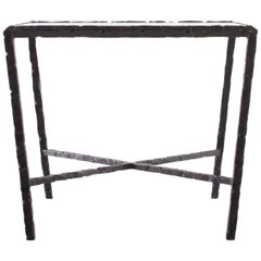 Hammered Steel Bronze Patina End Table Lagos Azul