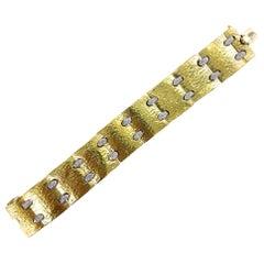 Hammered 18 Karat Yellow Gold Diamond Wide Link Bracelet