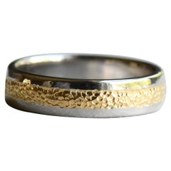 Hammered 22 Karat Gold inlay on 14 Karat White Gold Band