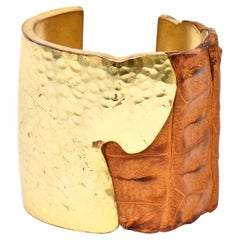 Hammered Brass and Crocodile Leather Cuff Signed Artisan Bracelet
