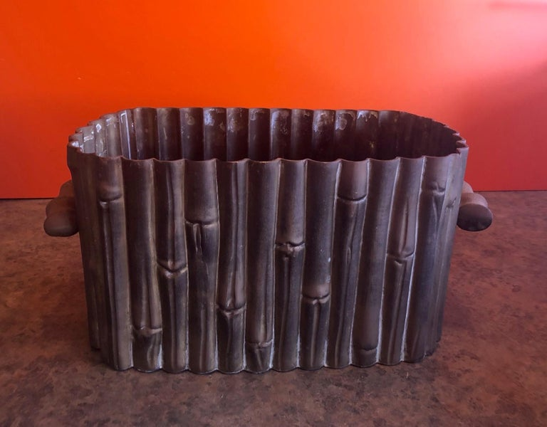 Hammered Brass Bamboo Motiff Planter by Mottahedeh In Fair Condition For Sale In San Diego, CA