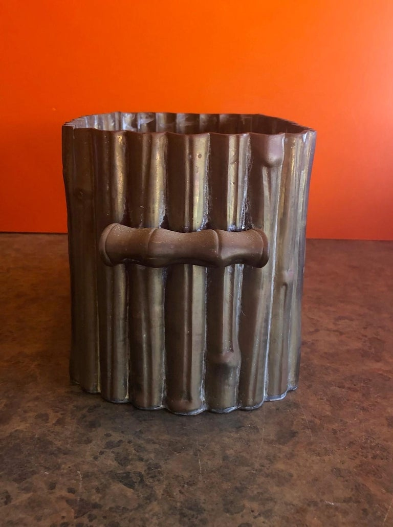 Hammered Brass Bamboo Motiff Planter by Mottahedeh For Sale 2