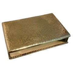 Hammered Brass Box with Braid Detail and Wood Liner